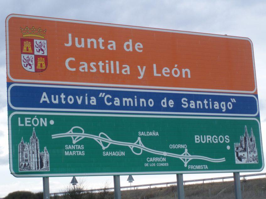 Cartel autovía León-Burgos