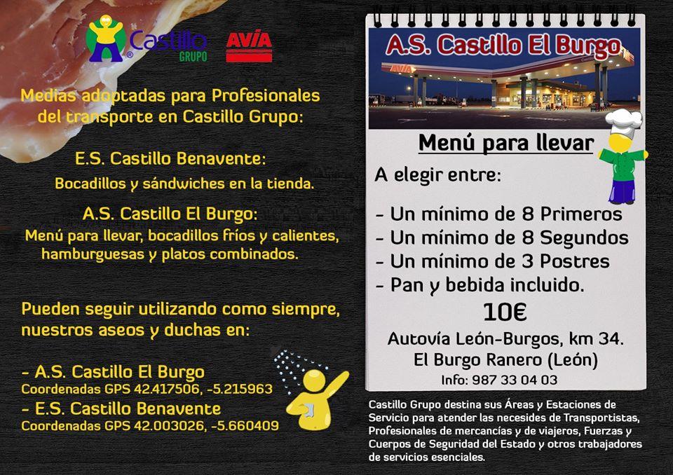 menú Castillo EL Burgo
